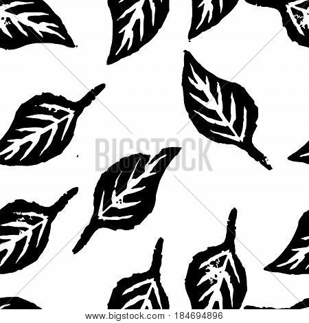 Seamless botanic pattern. Balck and white background with leaves imprints.Tile texture with stamps of the nature objects. Template for wrapping, textile. poster print. Vector illustration