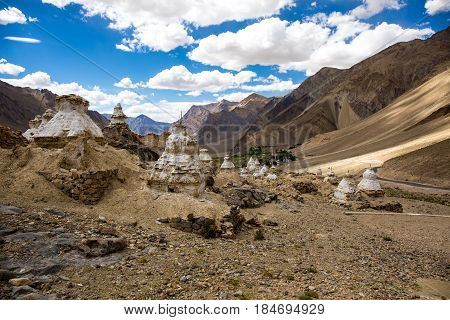 A lot of little stupa on the mountain in Zanskar Valley Padum Ladakh Jammu and Kashmir India.