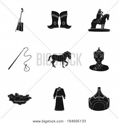Mongolian national characteristics. Icons set about Mongolia.Clothing, soldiers, equipment. Mongolia icon in set collection on black style vector symbol stock web illustration.
