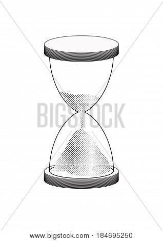 simple hourglass vector illustartion with falling sand