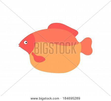Aquarium fish vector illustration isolated on white background. Cute ocean creature, comic aquarium animal, marine wildlife character in cartoon style.