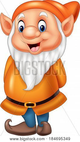 Vector illustration of Cartoon happy dwarf isolated on white background