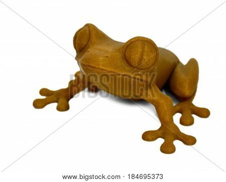 Objects printed by 3d printer Isolated on white background. Bright colorful object. Brown toad. Automatic three dimensional performs plastic modeling. Modern 3D printing technology.