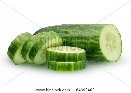 cucumber isolated on white background. half of cucumber and slices.