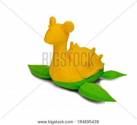 Objects printed by 3d printer Isolated on white background. Bright colorful object. Automatic three dimensional performs plastic modeling. Modern 3D printing technology.