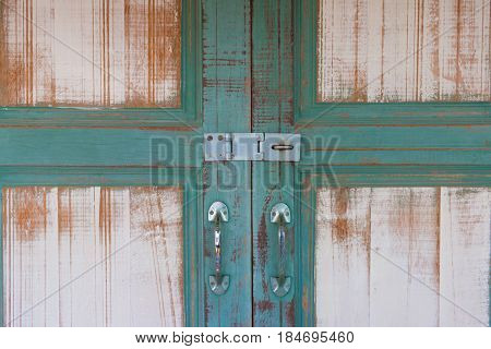 Green Asian Ancient Wooden Slide Door With Handle And Keylock. The Ancient Door For Back To The Past