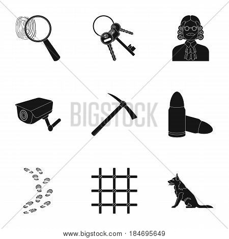 Set of images about the prison and prisoners. Surveillance of thieves, court, crime and punishment.Prison icon in set collection on black style vector symbol stock web illustration.