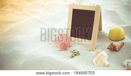 Happy Smiley Face Ball, Seashell And Blank Blackboard For Text On Clean Sand Beach. Beach Accessorie
