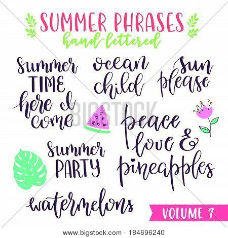 Hand Written Summer Lettering Phrases