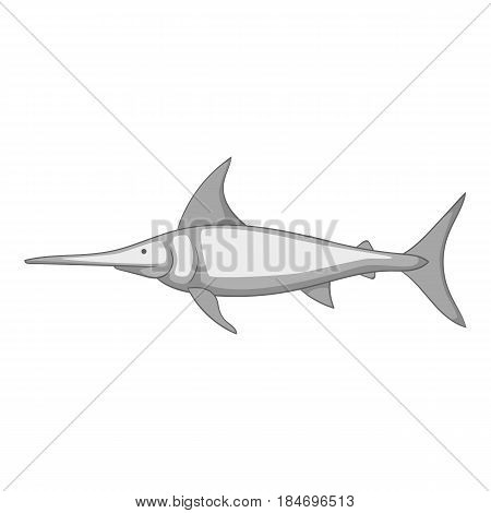 Swordfish icon in monochrome style isolated on white background vector illustration