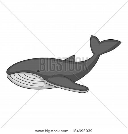 Whale icon in monochrome style isolated on white background vector illustration