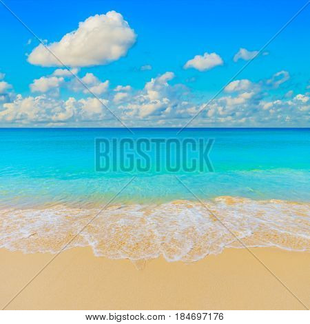 Bright sunny yellow sand beach travel background. Beautiful turquoise sea.