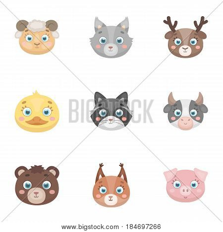 Wild and domestic animals. A set of pictures about animals.. Animal muzzle icon in set collection on cartoon style vector symbol stock web illustration.