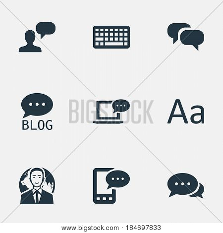 Vector Illustration Set Of Simple User Icons. Elements Laptop, Man Considering, E-Letter And Other Synonyms Cedilla, Considering And Debate.
