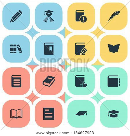 Vector Illustration Set Of Simple Education Icons. Elements Academic Cap, Important Reading, Bookshelf And Other Synonyms Bookshelf, Writing And Reading.