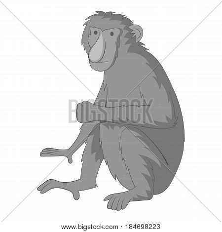 Proboscis monkey icon in monochrome style isolated on white background vector illustration
