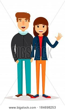 Friends on a walk. Young man and woman walking smiling and spending time together. Geometric people simple design. Stock vector