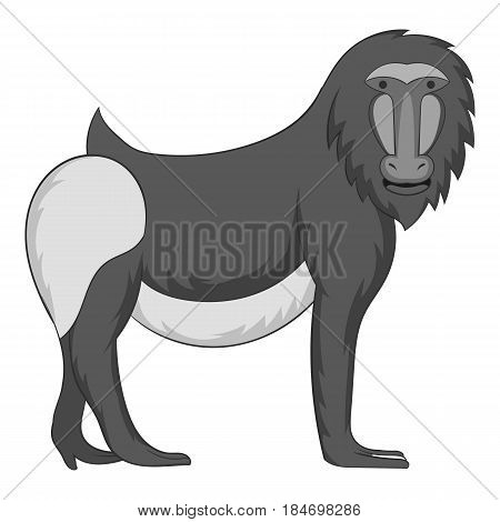 Mandrill icon in monochrome style isolated on white background vector illustration