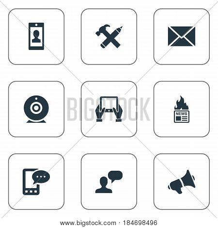 Vector Illustration Set Of Simple Newspaper Icons. Elements Man Considering, Gazette, Post And Other Synonyms Profile, Speaker And Missive.