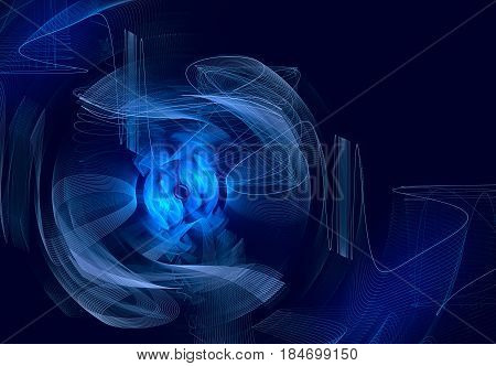 Blue rotating abstract fractal on dark background. Virtual Reality. Design element