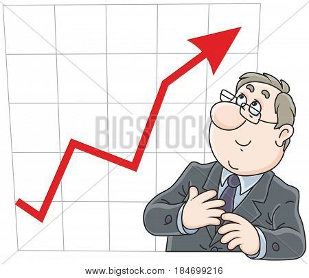 Businessman looking at his chart with growing indicators of business