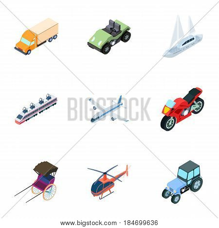 Land, water, air transport. Machines that people use.Transportation icon in set collection on cartoon isometric style vector symbol stock web illustration.