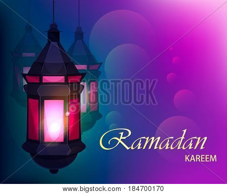 Ramadan Kareem beautiful greeting card with traditional Arabic lantern on blurred purple background. Usable for Eid Mubarak. Stock vector