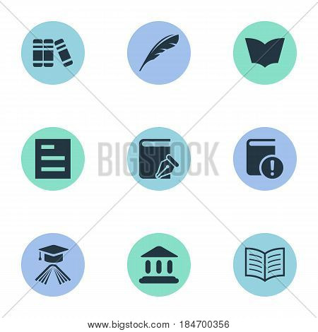 Vector Illustration Set Of Simple Knowledge Icons. Elements Sketchbook, Library, Book Page And Other Synonyms Document, School And Literature.