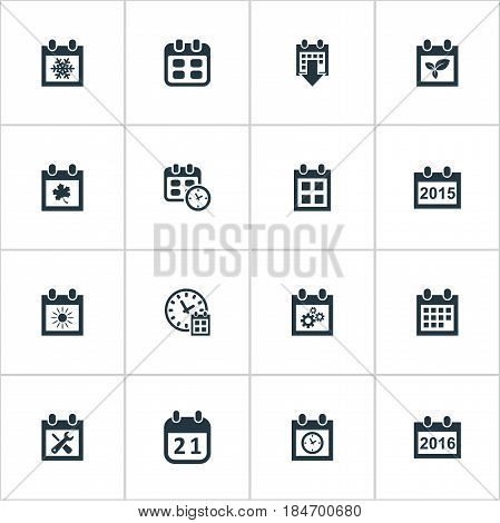 Vector Illustration Set Of Simple Date Icons. Elements Deadline, Annual, Leaf And Other Synonyms Summer, Clock And Almanac.