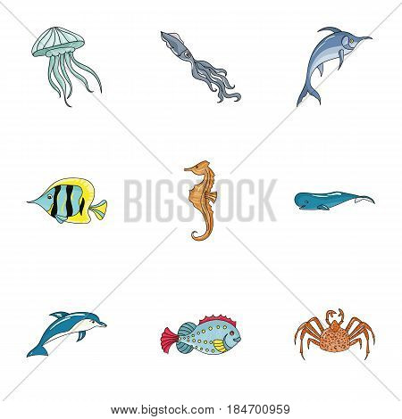 Marine and river inhabitants. Fish, whales, octopuses.Sea animals icon in set collection on cartoon style vector symbol stock web illustration.