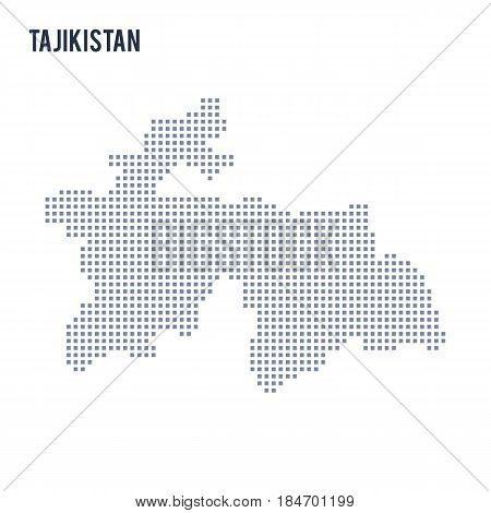 Vector pixel map of Tajikistan isolated on white background . Travel vector illustration