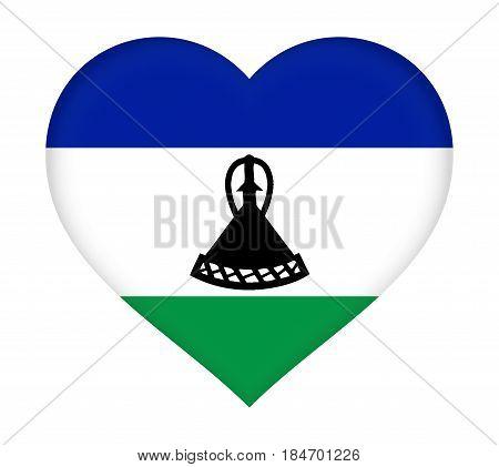 Flag Of  Lesotho Heart
