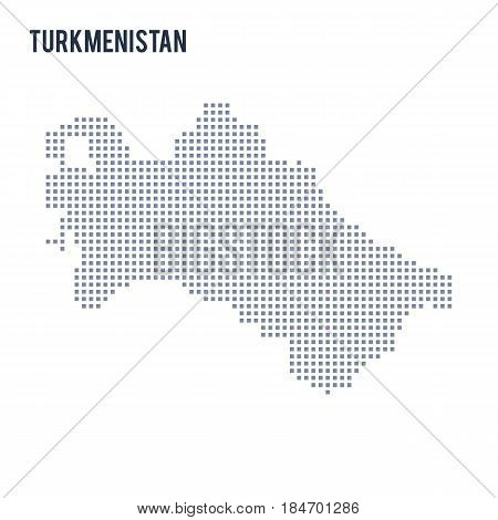 Vector pixel map of Turkmenistan isolated on white background . Travel vector illustration