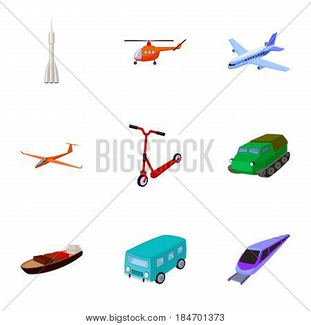 Set of pictures about types of transport. Transportation of people, cargo. Ground, underwater, air transport. Transport icon in set collection on cartoon style vector symbol stock web illustration.