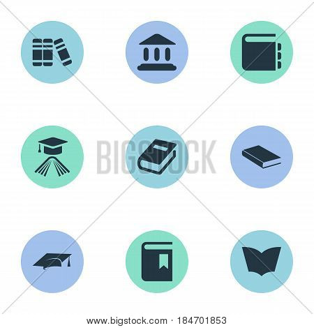 Vector Illustration Set Of Simple Reading Icons. Elements Bookshelf, Reading, Notebook And Other Synonyms Academy, Library And Textbook.