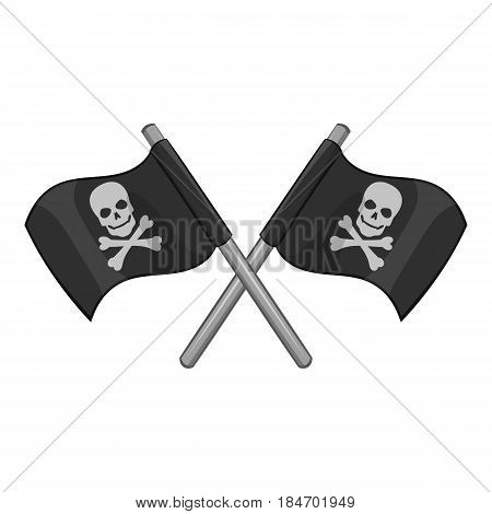 Crossed pirate flags with skull and crossbones icon in monochrome style isolated on white background vector illustration
