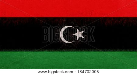 Flag Of Libya Grunge.