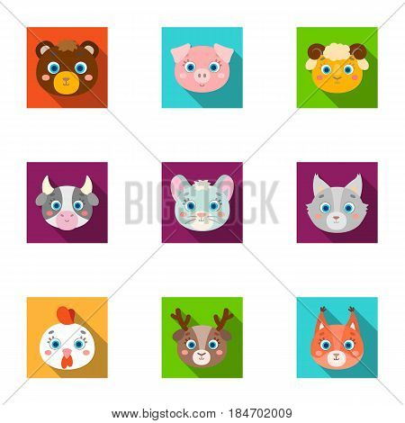 Wild and domestic animals. A set of pictures about animals.. Animal muzzle icon in set collection on flat style vector symbol stock web illustration.