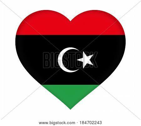 Flag Of  Libya Heart