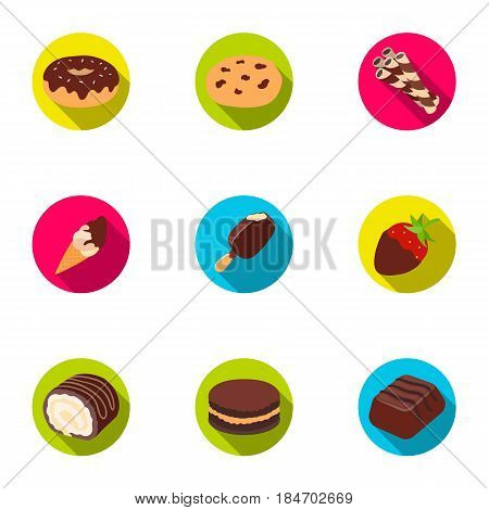 A set of chocolate sweets. Chocolate products for people. Chocolate desserts icon in set collection on flat style vector symbol stock web illustration.
