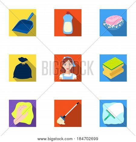 Cleaning, washing and everything connected with it. A set of icons for cleaning. Cleaning and maid icon in set collection on flat style vector symbol stock web illustration.