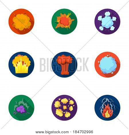 A set of icons about the explosion. Various explosions, a cloud of smoke and fire.Explosions icon in set collection on flat style vector symbol stock web illustration.