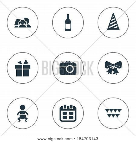 Vector Illustration Set Of Simple Birthday Icons. Elements Cap, Infant, Beverage And Other Synonyms Resonate, Baby And Fizz.