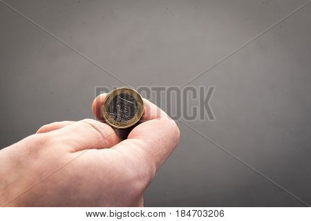 Tossing Euro coin heads or tails you decide poster