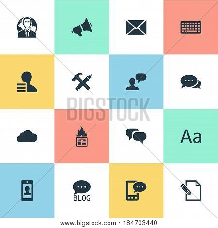 Vector Illustration Set Of Simple User Icons. Elements Repair, Argument, Gazette And Other Synonyms Laptop, Epistle And International.