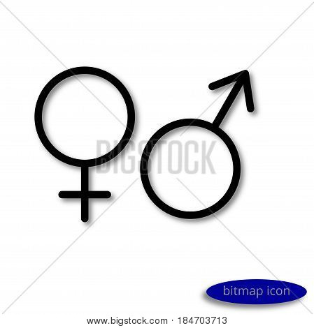 Simple linear image of the symbols of female and male organisms or planets Venus and Mars line icon flat style