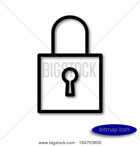 A simple  linear image of a closed padlock with a key hole, a line icon, a flat style.