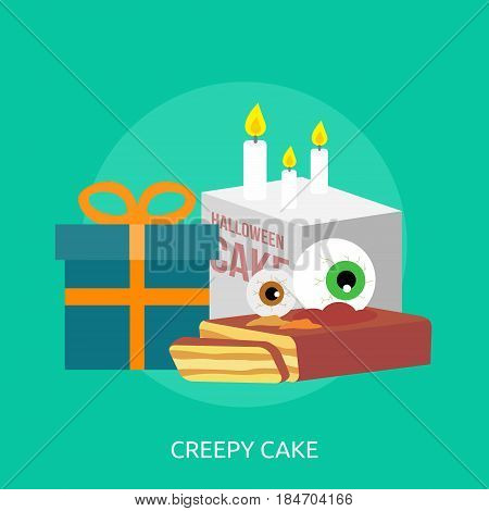 Creepy Cake Conceptual Design | Great flat illustration concept icon and use for halloween, holiday, horror, night and much more.