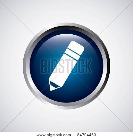 pencil button school icon vector illustration design