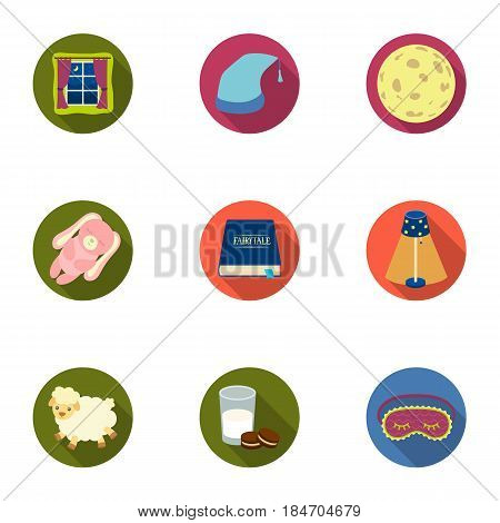 A set of pictures on a theme a dream, rest. Bed accessories for rest.Sleep and rest icon in set collection on flat style vector symbol stock web illustration.